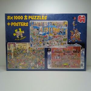New Jan Van Haasteren Art 3 X 1000 PUZZLE The Big Leak At The Gym Grand Cafe