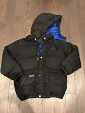 Boys Ralph Lauren Black Puffer Down Jacket Pony Logo with hood. size 6