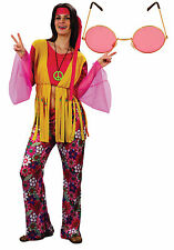 Ladies 70s 60s Hippie Hippy Retro Fancy Dress Costume Outfit Pink Yellow +Specs