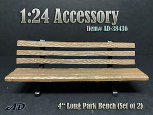 """American Diorama Accessory 1:24 Scale 4"""" long Park Bench (Set of 2) - AD-38436"""