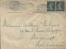 FRANCE - 1922 COVER TO BUCHAREST ROMANIA WITH LETTER