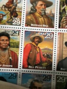 2 Full Stamp Sheets Legends Of The West. BOTH The Original Error & Correction!