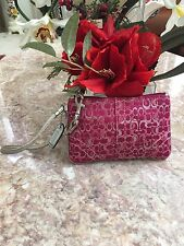 Coach Signature Metallic Pink Jacquard Wristlet With Silver Leather Trim EUC