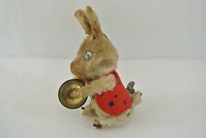 Wind Up Cymbal Bunny Vintage Hard Plush w/ Key 1960s Japan WORKS