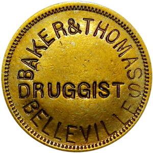1880 Belleville Illinois Good For Token Baker & Thomas Druggist Soda Water