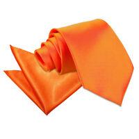 DQT Satin Plain Solid Burnt Orange Mens Classic Tie & Hanky Wedding Set