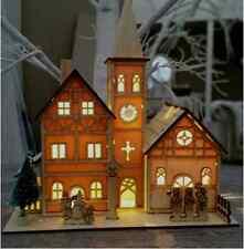 Rustique en bois pré-éclairé blanc chaud led église crèche de noël décoration de noël