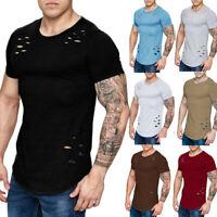 Men's Summer Casual Broken Hole Short Sleeve T-shirt Tops Hip Hop Blouse Shirts