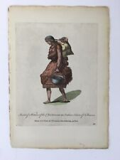 1772 Woman in Fur w Baby NATIVE AMERICAN Hand Colored Print by Thomas Jefferys