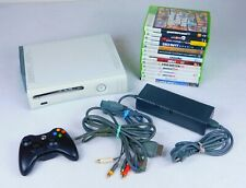 Xbox 360 - 60GB White Console w/Black Controller & 14 Games TESTED WORKS