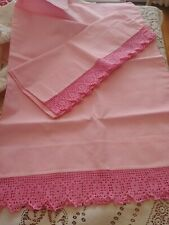 Vintage Pair Pretty Pink Crocheted Edge Pillowcases Muslin 1950's Cottage Chic
