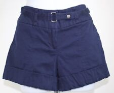 Navy blue womens small shorts cuffed belted pockets