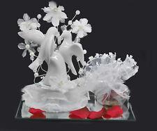 Geldgeschenk zur Hochzeit Porzellan Tauben auf Sockel Spiegel reich dekoriert