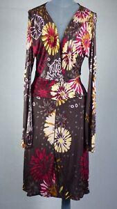 Missoni Brown Floral Print Wrap Front Jersey Dress UK 14 IT 46
