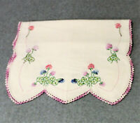 Vtg Linen Hand Embroidered Crochet Table Runner Dresser Scarf Purple Floral