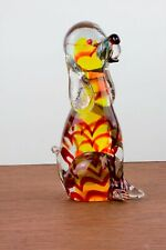 Murano Art Glass Dog Clear, yellow, red, speckled ears & tail approx. 7in x 3in
