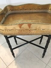 Vintage Brass Gallery Tray Table. Wooden Foldable Base Black Faux Bamboo. Lovely