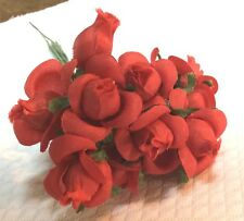 Vintage Red Silk Small Roses  pack of 12    5/8 in