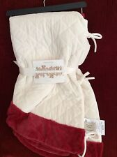 """NEW 60"""" Quilted Ivory Christmas Tree Skirt w/RED Trim Trimsetter by Dillard's"""
