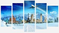 Winter Famous Places Around The World Wall Art 5 Split Panel Canvas Pictures