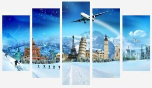 Famous Landmarks Around The World Winter Snow Art 5 Split Panel Canvas Pictures