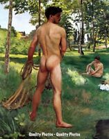 "Nude Man Fisherman with Net 8.5x11"" Photo Print Naked Male Art Frédéric Bazille"