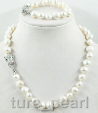 NEW 12-13mm south sea white baroque pearl necklace bracelet set leopard Clasp