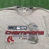 Boston Red Sox T Shirt Mens XL Gray MLB Baseball 2004 World Series Champions USA
