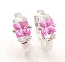 Women Girl New Hoop Earrings Pink Lilac CZ Cubic White Gold Plated Xmas Birthday