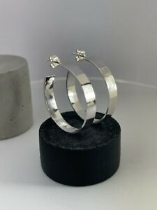 Sterling Silver 925 5mm Wide Smooth Surface Hoop Earrings Sizes 25-40mm Handmade