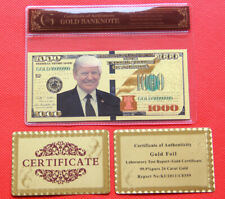 45th USA President Donald Trump 1000 US Dollar Gold Banknote and certificate