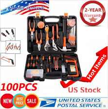 100 PCS Home Repair Tool Set General Household Hand Tool Kit Plastic Tool Box US