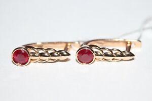 14K 585 ROSE GOLD Russian earrings NEW RUBY