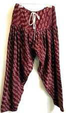 Jeannie Harem Belly Dance Ethnic Pants M/ L / XL? Semi-Sheer Floral Burgundy New