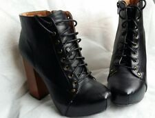 Women QUPID Rosswood-02 Leatherette Square Toe Block Heel Platform Boot Size 8.5