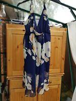 Lovely Blue Multi Floral Strappy Dress, Lined, V Neck, Small Size XL (12/14) VGC