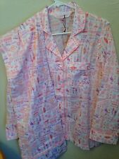 VICTORIA'S SECRET Pink Tropical Fun Print Light Cotton  Pajamas NEW M