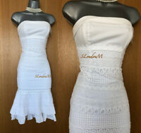 Karen Millen White Embroidered Lace Strapless Summer Holiday Dress UK 6 EU 34