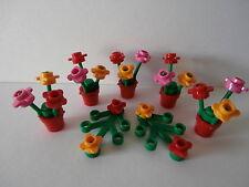 LEGO FRIENDS  5 rote Blumentöpfe mit Blumen + 2 grüne Pflanzen mit Blumen  NEU