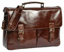NEW Mens Briefcase BROWN Real Leather Shoulder Laptop Documents Office BAG Brig