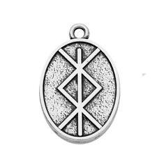 10Pcs Viking Runes OTHALA ALGIZ Stamped Oval Shape Amulet Talisman Charm Jewelry