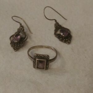 Vintage Sterling Silver Marcasite ring and earings