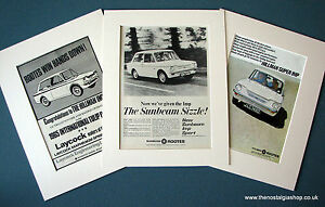 Hillman Imp. Set of 3 Vintage Original Adverts, 1965, 1966, in Mounts.