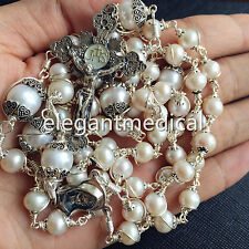 Real Pearl Bead Bali Sterling Silver 5 DECADE CATHOLIC Rosary NECKLACE Cross BOX