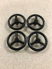 Lot of (4) Ertl Current Style Black Metal Steering Wheels 1/16