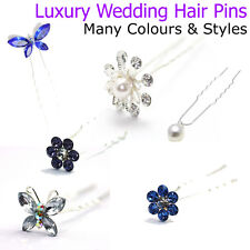Crystal Hair Pins Wedding Mother of the Bride Accessories Diamante Pearl Flower