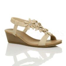 Sandali e scarpe spillo beige per il mare da donna 100% pelle
