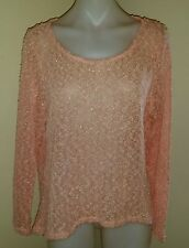 Jay Jays Ladies HiLo Pullover, Size 16, Peach with Silver Metallic Thread, PC