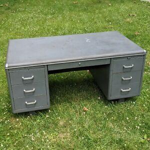 """Vintage Steel Tanker Desk 60"""" x 32"""" x 29.5"""" - Globe Wernicke ? industrial deco"""