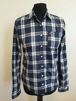 EE723 WOMENS HOLLISTER BLUE WHITE CHECK LONG SLEEVE SHIRT UK M 10